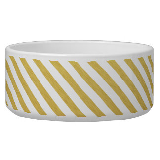 Gold and White Stripes Large Dog Bowl
