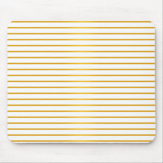 Gold and White Stripes Mouse Pad