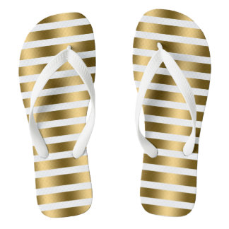 Gold And White Stripes Pattern Flip Flops