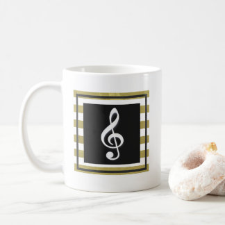 Gold and White Stripes With Treble Clef Coffee Mug
