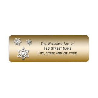 Gold and White Trio of Snowflakes Label