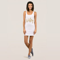 Gold and White Typography Wifey Dress