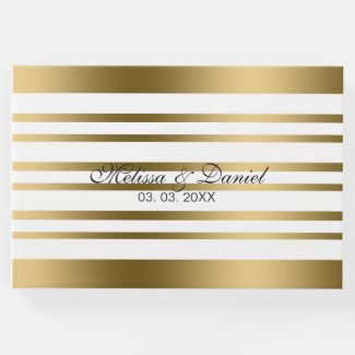 Gold And White Uneven Stripes