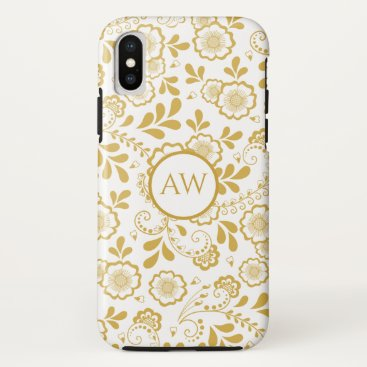 Gold and white Victorian Floral Lace Monogram iPhone XS Case