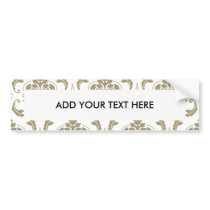 Gold and White Vintage Damask Pattern Bumper Sticker