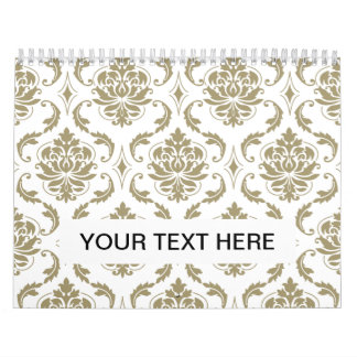 Gold and White Vintage Damask Pattern Wall Calendar
