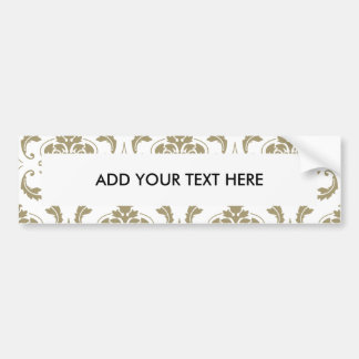 Gold and White Vintage Damask Pattern Car Bumper Sticker