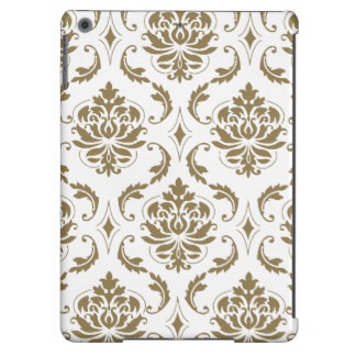 Gold and White Vintage Damask Pattern iPad Air Cover