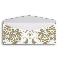 Gold and White Vintage Damask Pattern Envelope