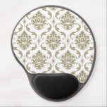 "Gold and White Vintage Damask Pattern Gel Mouse Pad<br><div class=""desc"">Girly,  Gold and White Vintage Damask Pattern. A stylish,  chic,  floral damask in fashionable shade of gold. Perfect gift for her. You can keep as is or customize it and add your own graphics,  photo,  name,  initial,  monogram or text.</div>"
