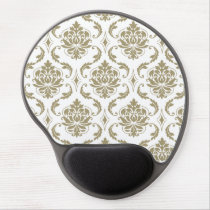 Gold and White Vintage Damask Pattern Gel Mouse Pad