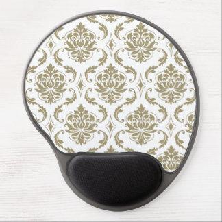 Gold and White Vintage Damask Pattern Gel Mouse Mats