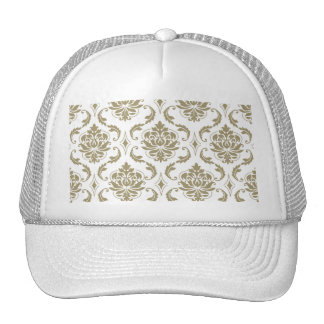 Gold and White Vintage Damask Pattern Mesh Hat