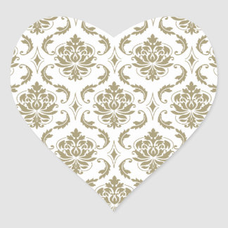 Gold and White Vintage Damask Pattern Heart Sticker