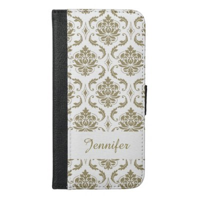 Gold and White Vintage Damask Pattern iPhone 6/6S Plus Wallet Case