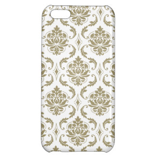 Gold and White Vintage Damask Pattern Case For iPhone 5C