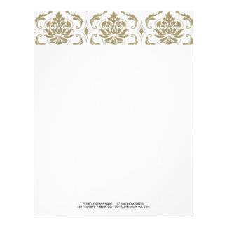 Gold and White Vintage Damask Pattern Personalized Letterhead