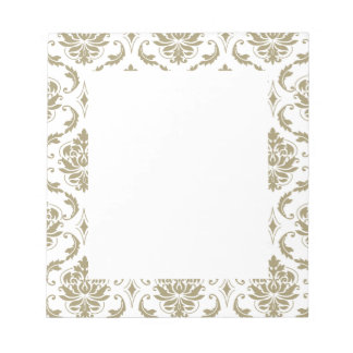 Gold and White Vintage Damask Pattern Note Pads