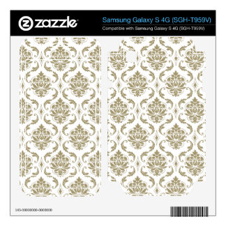 Gold and White Vintage Damask Pattern Samsung Galaxy S 4G Skins
