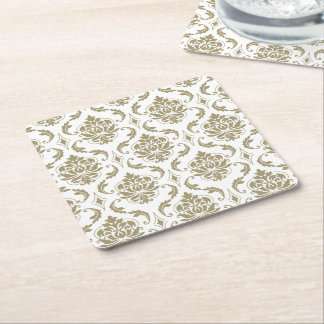 Gold and White Vintage Damask Pattern Square Paper Coaster