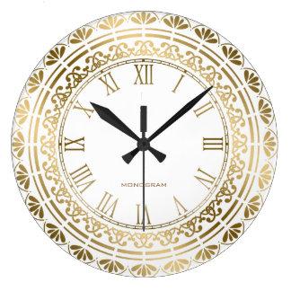 Gold And White Vintage Floral Design Large Clock