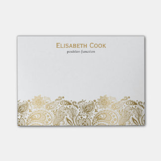 Gold And White Vintage Paisley Lace Post-it® Notes