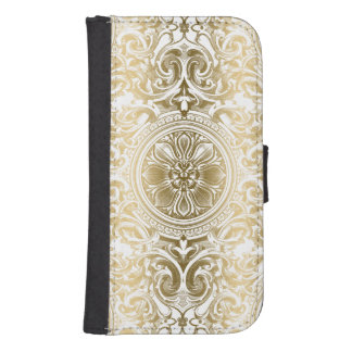 Gold And White Vintage Swirls Ornament Phone Wallet