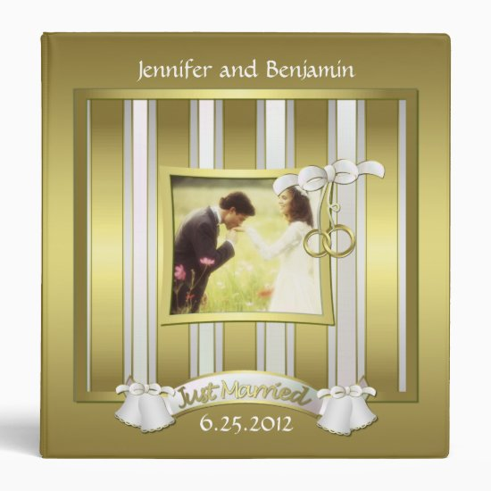 Gold and White Wedding Album Binder
