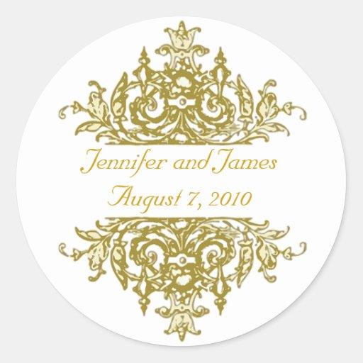 gold and white wedding sticker zazzle