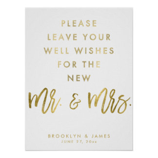Gold And White Well Wishes Wedding Sign Poster