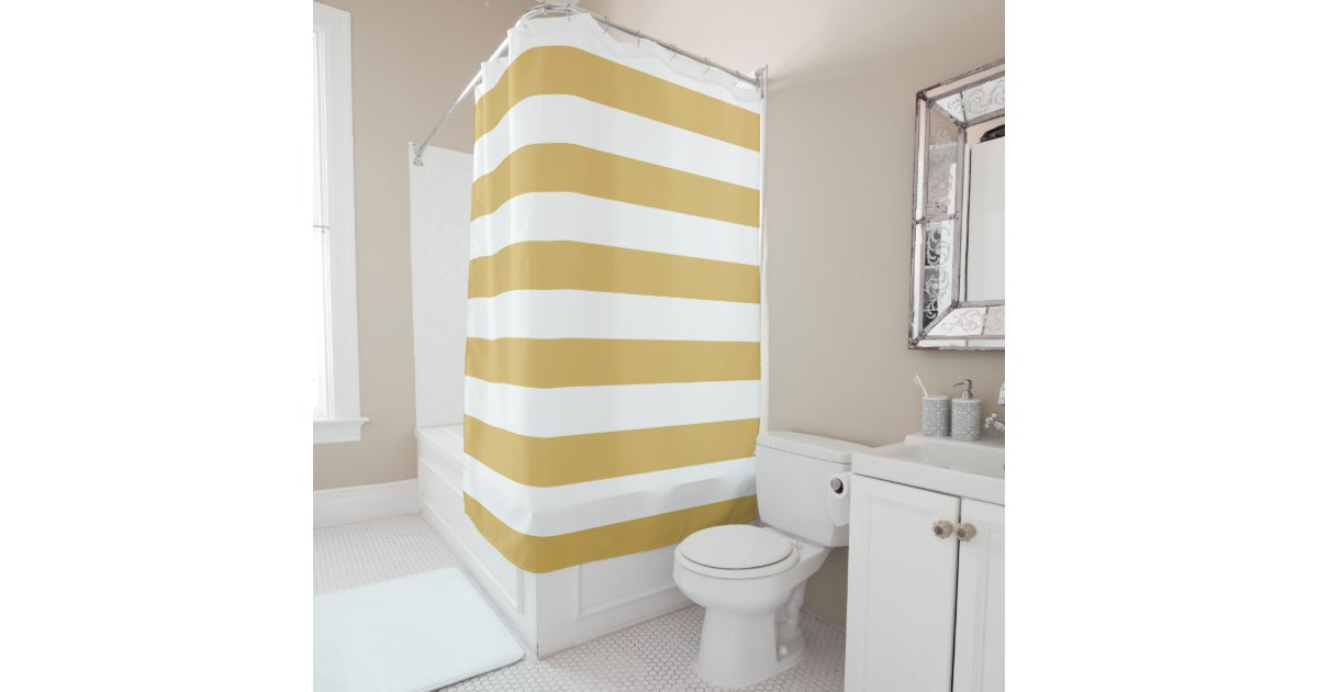 Gold And White Wide Stripes Shower Curtain