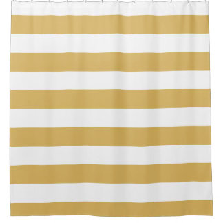 Gold and White Wide Stripes Shower Curtain Stripe Curtains  Zazzle