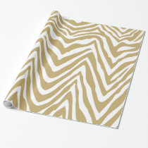 Gold and White Zebra Stripes Animal Print Wrapping Paper