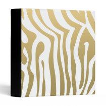 Gold and White Zebra Stripes Pattern Binder