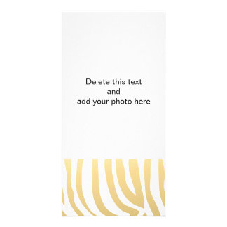 Gold and White Zebra Stripes Pattern Card