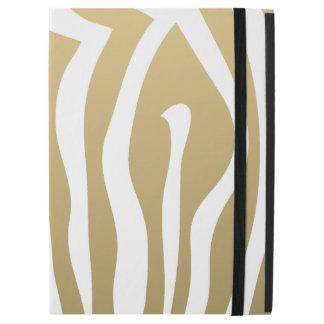 "Gold and White Zebra Stripes Pattern iPad Pro 12.9"" Case"