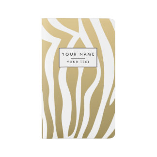 Gold and White Zebra Stripes Pattern Large Moleskine Notebook