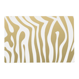Gold and White Zebra Stripes Pattern Placemat