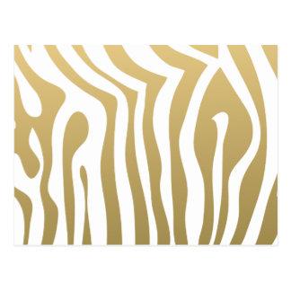 Gold and White Zebra Stripes Pattern Postcard