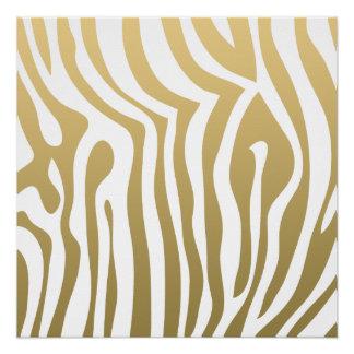 Gold and White Zebra Stripes Pattern Poster