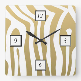 Gold and White Zebra Stripes Pattern Square Wall Clock