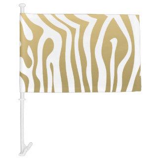 Gold and White Zebra Stripes Pattern Car Flag