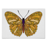 Gold and Yellow - Butterfly Poster