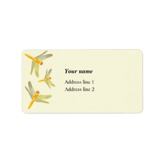 Gold and yellow colored dragonflies label