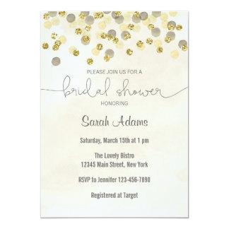 Gold and Yellow Confetti Bridal Shower Invitation