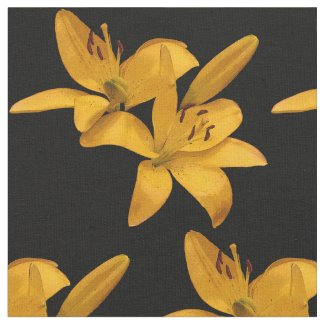 Gold and Yellow Lily Flower Fabric