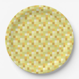 Gold and Yellow Pixelated Pattern Paper Plate