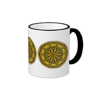 Gold and yellow rose kaleidoscope coffee mugs