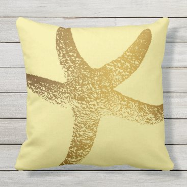 Beach Themed Gold and Yellow Starfish Outdoor Throw Pillow