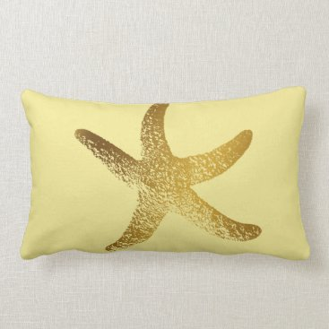 Beach Themed Gold and Yellow Starfish Throw Pillow